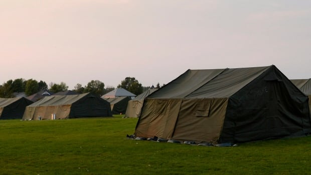 The interim lodging site prepared by the Canadian Forces, which has beds for 500 people.