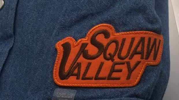 A concerned customer took this photo of the 'Squaw Valley' shirt for sale at Calgary's Simons location for $190.