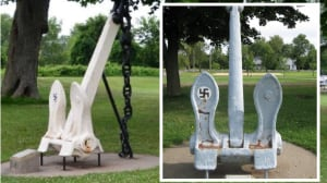Quebec village refuses to remove anchor emblazoned with a swastika from park