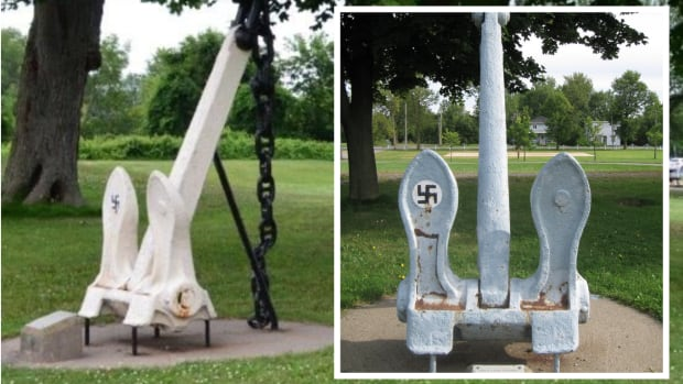 An anchor in a Pointe-des-Cascades, Que., park is adorned with a swastika. The mayor said the anchor dates back to before WW II.