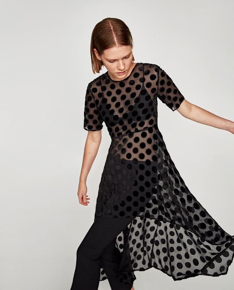 008dea34 Obviously, this is so much more than just a top. Sheer fabric + high-low  hem + polka dots make this a major statement piece. Turn a simple slip dress  into a ...