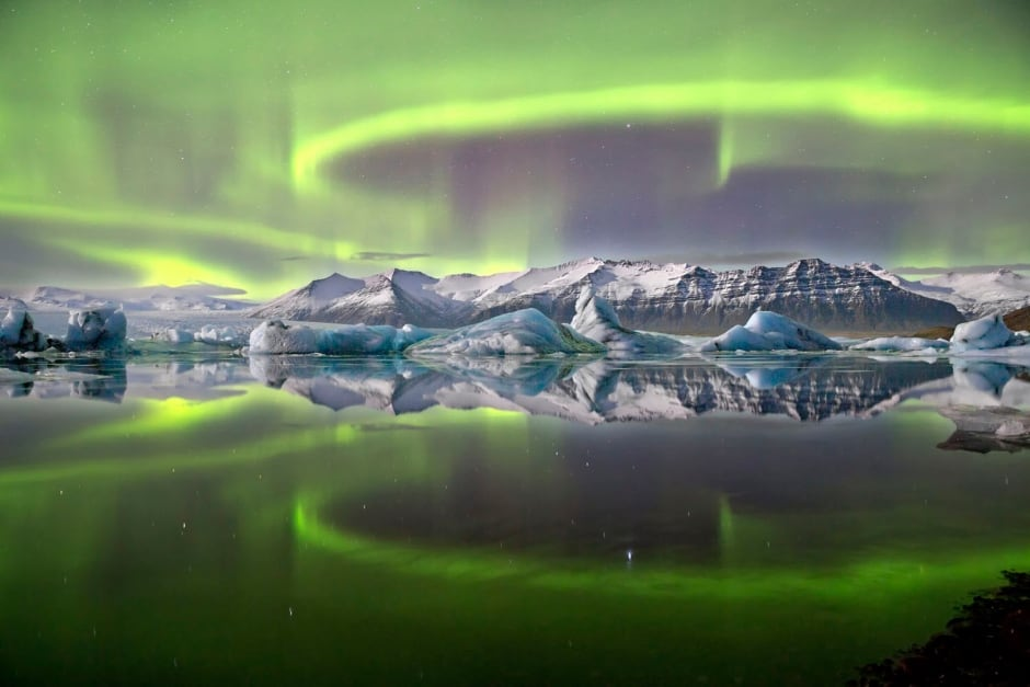 Aurora over a glacier lagoon, James Woodend