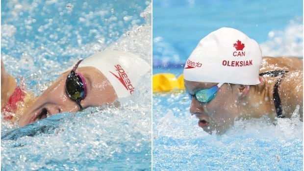 Canada's Taylor Ruck, left, and Penny Oleksiak both live near elite swimming facilities in Toronto's east end.