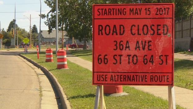 This sign warns drivers of closures along 36A Avenue between 64th Street and 66th Street to construct part of the southeast Valley Line LRT.
