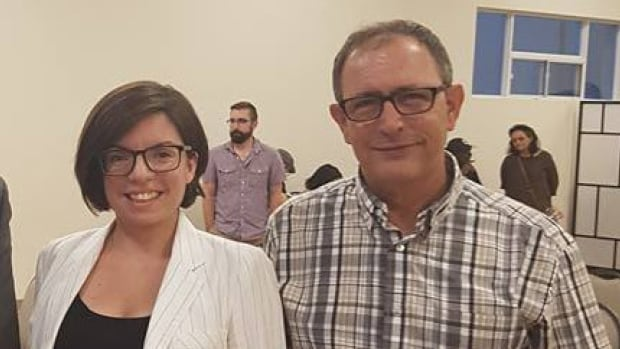 Manitoba NDP MP Niki Ashton stands with Nazih Khatatba at what B'nai Brith Canada says was a fundraising event in Mississauga. Ashton's campaign said, 'The photo was taken at a public event and it was not known to [Ashton] or the campaign that it would be used as an endorsement.'