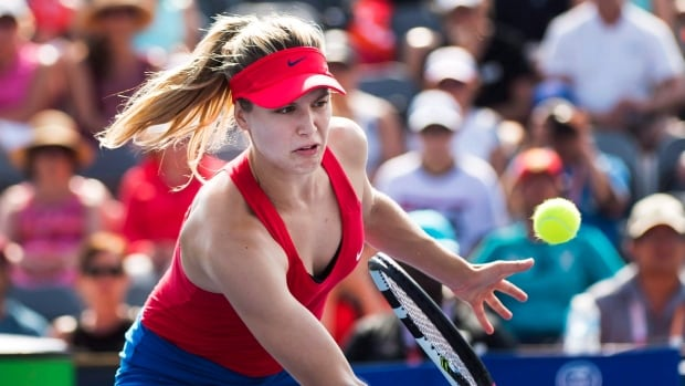 Canada's Eugenie Bouchard, pictured above at the Rogers Cup, was ousted in the second round at the Connecticut Open on Tuesday.