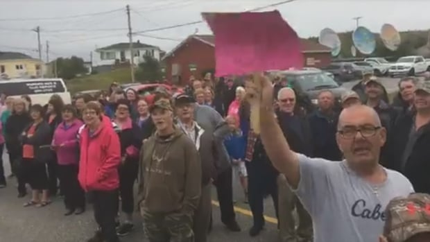 On Aug. 16, residents of Burgeo protested outside a closed town council meeting to show their disagreement with installing water meters.