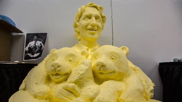 A butter sculpture of Prime Minister Justin Trudeau is seen at the CNE.