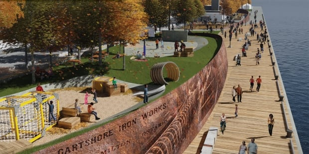 Rendering proposal 1 for Pier 8 park
