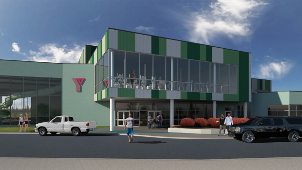 This rendering shows the front of the Labrador Wellness Centre.
