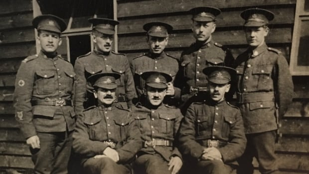 Sgt. Harold Wilfred Shaughnessy (second from left, back row) in a photo taken in Europe.
