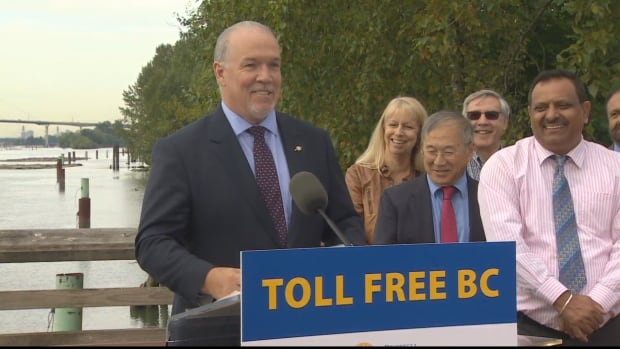 Premier John Horgan announced the elimination of tolls on two Lower Mainland bridges on Friday.