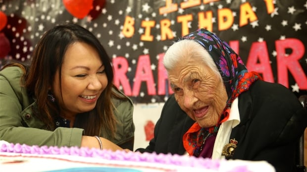 Sarah Harper died over the weekend. She's seen here celebrating her 111th birthday in Bunibonibee Cree Nation on Aug. 25.