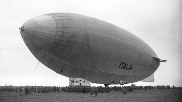 The Italian airship 'Italia' in northern Poland in 1928, en route to the North Pole. The vessel successfully reached the pole but never made it back.