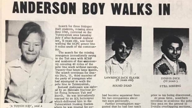 Bernard Andreason (left), Lawrence Jack Elanik and Dennis Dick ran away from the Stringer Hall residential school in Inuvik in 1972.  Note the mistaken spelling of Andreason's name in the headline.