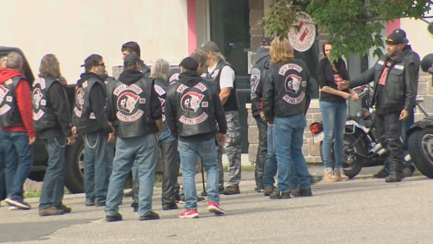 Several members of Gate Keepers New Brunswick were in attendance with at least nine other patches from various outlaw motorcycle groups visible.