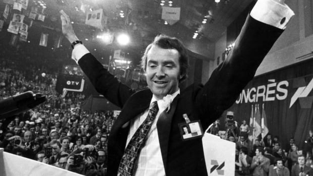 Joe Clark acknowledges party members' cheers as he wins  the Progressive Conservative leadership race in 1976. Clark is the only living former prime minister who has a school named for him in Canada.