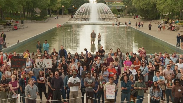 Hundreds gathered in front of Alberta's legislature Saturday for an anti-racism rally, in response to the violent protests in Charlottesville.