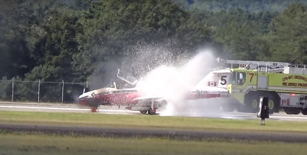Snowbird catches fire on runway after nova scotia airshow for Domon canada