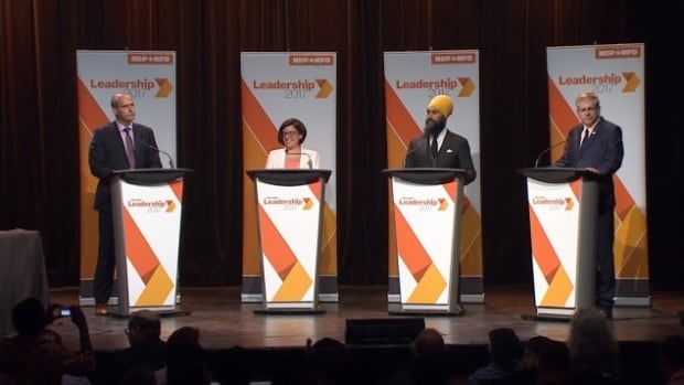 The four candidates to succeed Thomas Mulcair as NDP leader debate in French in Montreal. The NDP holds16 seats in Quebec — well below the 59 it won in its historic breakthrough in the province in 2011 under Jack Layton.