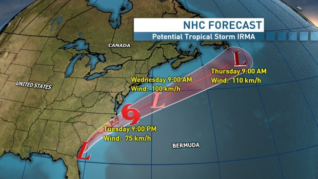 A Tropical Storm Warning Has Been Issued For Parts Of The North Carolina Coast As The Storm Progresses North On Wednesday It Is Aned To Be Directed