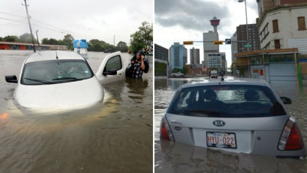 Stranded cars in Houston's flood of 2017, left, and Calgary's flood of 2013, right.