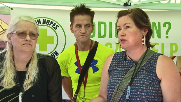 Sarah Blyth, far right, president of the High Hopes Foundation, says providing better access to cannabis on Vancouver's Downtown Eastside will save lives by getting people off fentanyl-contaminated street drugs.