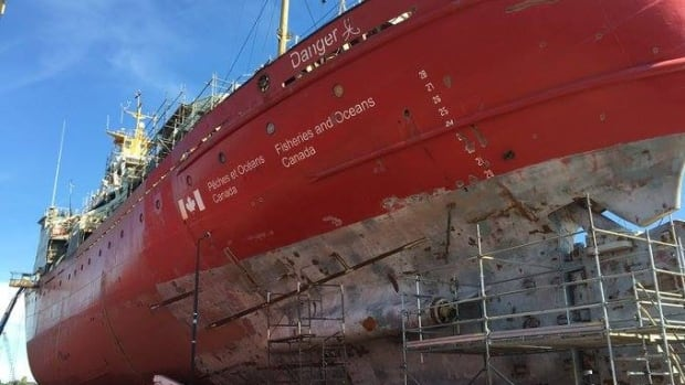 The Hudson refit included overhauling the superstructure and masts, blasting and recoating the hull, steel replacement and repairs to the rudder.