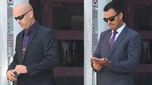 Charges against Bathurst Police Force constables Patrick Bulger, left, and Mathieu Boudreau were dropped in February after a judge decided there wasn't enough evidence to proceed to trial.