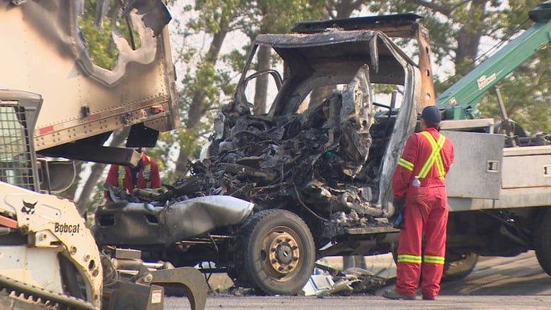 Tow truck driver killed in fiery crash on Trans-Canada Highway near