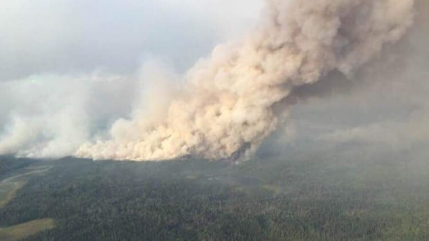 Smoke billows from a wildfire in northern Saskatchewan.