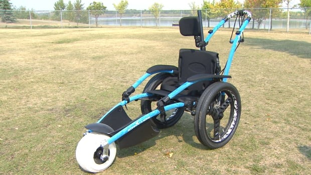 One of the two types of aquatic wheelchairs that are now available at some city splash parks.