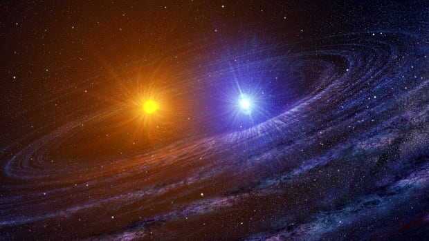 This artist rendering depicts a binary system shortly after the white dwarf, right, has exploded as a nova.  In this case, the other star is a red giant. In the case of a nova spotted on March 11, 1437, it was a red dwarf.