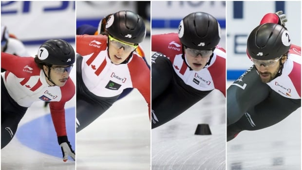 Canada's Olympic short track speed skating team will include (from left to right) Samuel Girard, Marianne St-Gelais, Kim Boutin and Charles Hamelin.