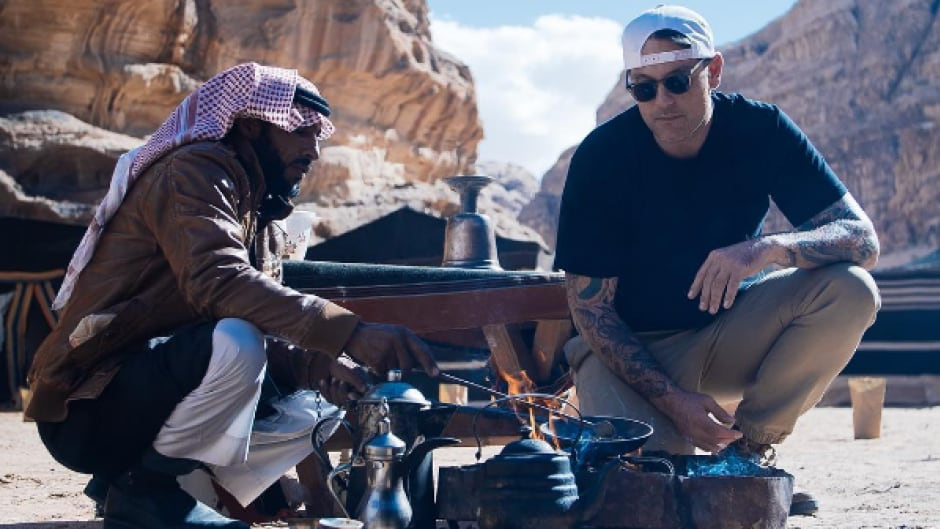 Chuck Hughes in Jordan's Wadi Rum valley as part of 'Le Monde Selon Chuck,' a new TV show that has him on a culinary world tour.