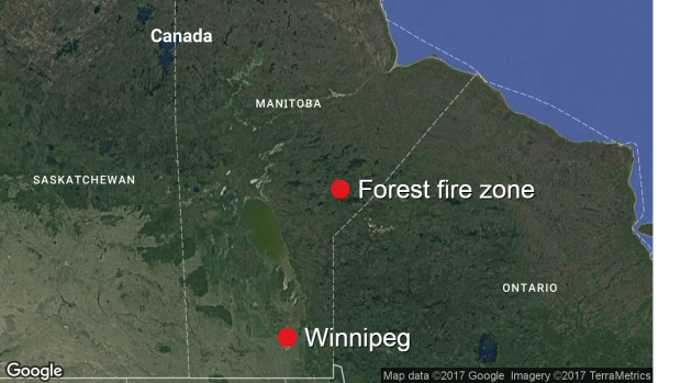 Forest fire zone in northern Manitoba