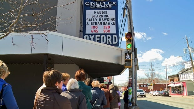 People line up outside Halifax's Oxford Theatre on April 15, 2017, for a showing of the movie Maudie.