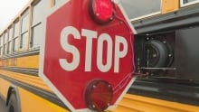 School bus rear-mounted stop signal