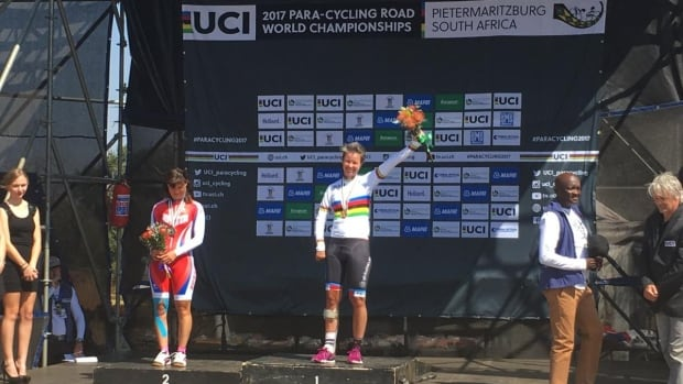 Canada's Shelley Gautier celebrates her gold medal in the T1 cycling time trial at the para cycling world championships Thursday in South Africa.