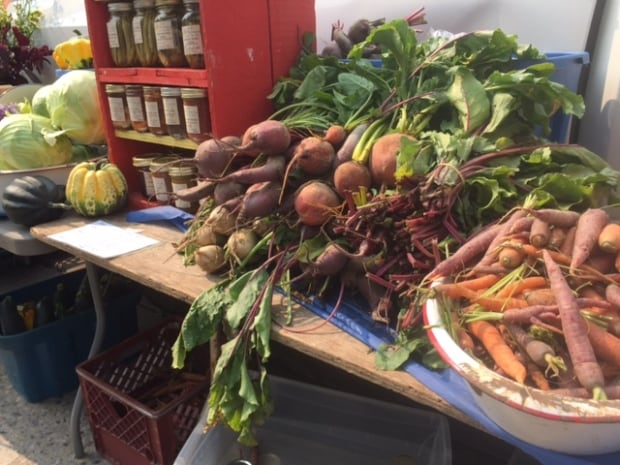 Beets and root vegetables at the Winnipeg farmers market