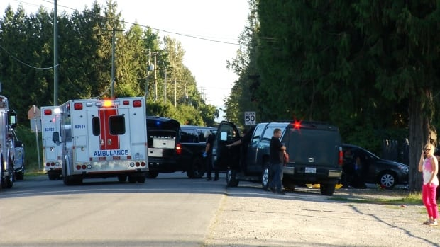 Police investigate a fatal shooting in Abbotsford on Thursday evening.