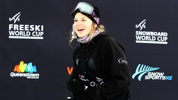 Canada's Cassie Sharpe celebrates after winning the women's freestyle skiing World Cup halfpipe finals at Cardrona Alpine Resort in New Zealand on Friday.