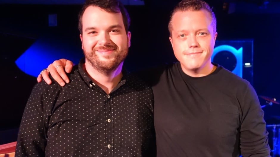 Jason Isbell (right) with Tom Power in studio q.