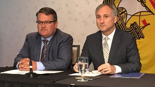 Former Health Minister Victor Boudreau and former New Brunswick premier Bernard Lord, the CEO of Medavie, made the home-care announcement in Moncton.