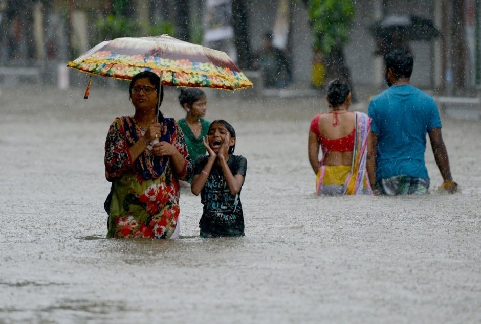 India flooded street
