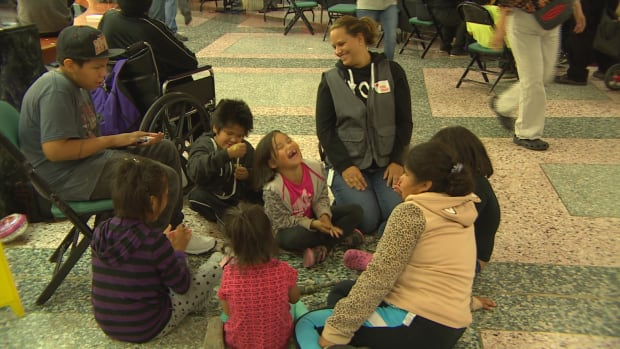 Canadian Red Cross volunteer Cailin Hodder said its important volunteers work with young evacuees to keep them entertained and give their parents a moment to breathe.