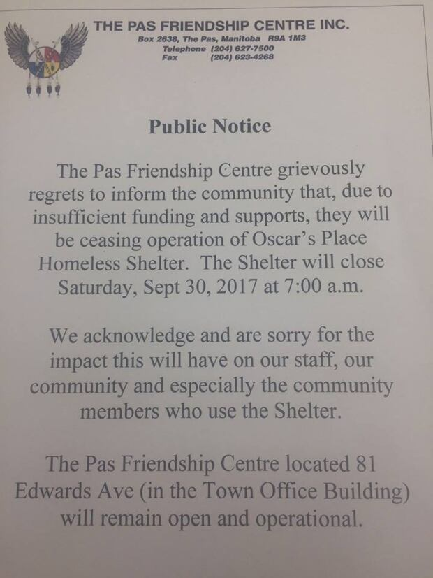 This public notice was posted on the Friendship Centre's Facebook page Thursday.