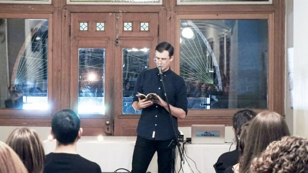Montreal writer Alex Manley at a reading in Toronto. His poetry book, We Are All Just Animals & Plants, was published by independent press Metatron.