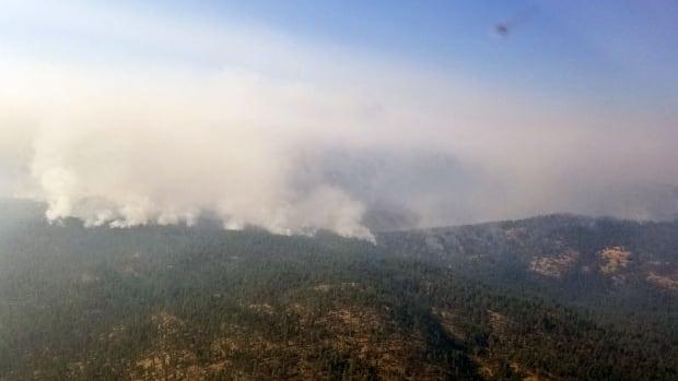 The Finlay Creek wildfire burns near Peachland, B.C.