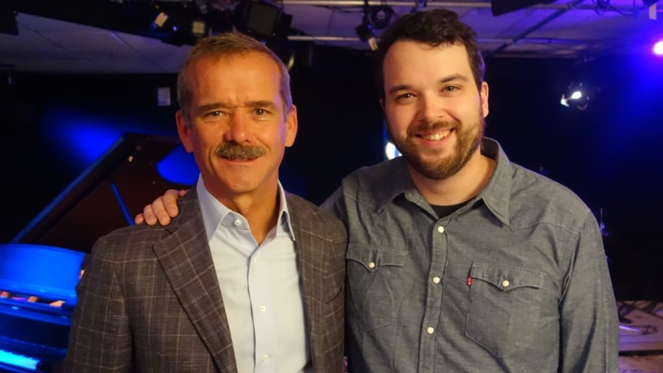 Astronaut Chris Hadfield and Tom Power in the q studios in Toronto, Ont.